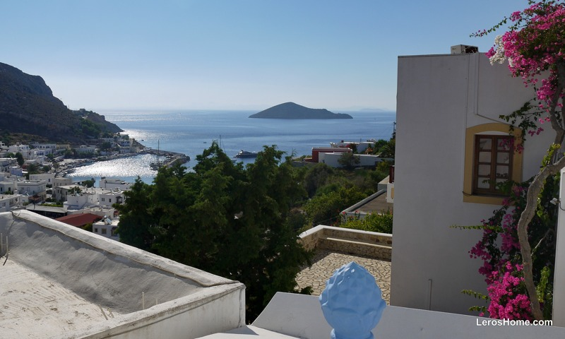 view to Pandeli harbour from house in Spilia, Leros